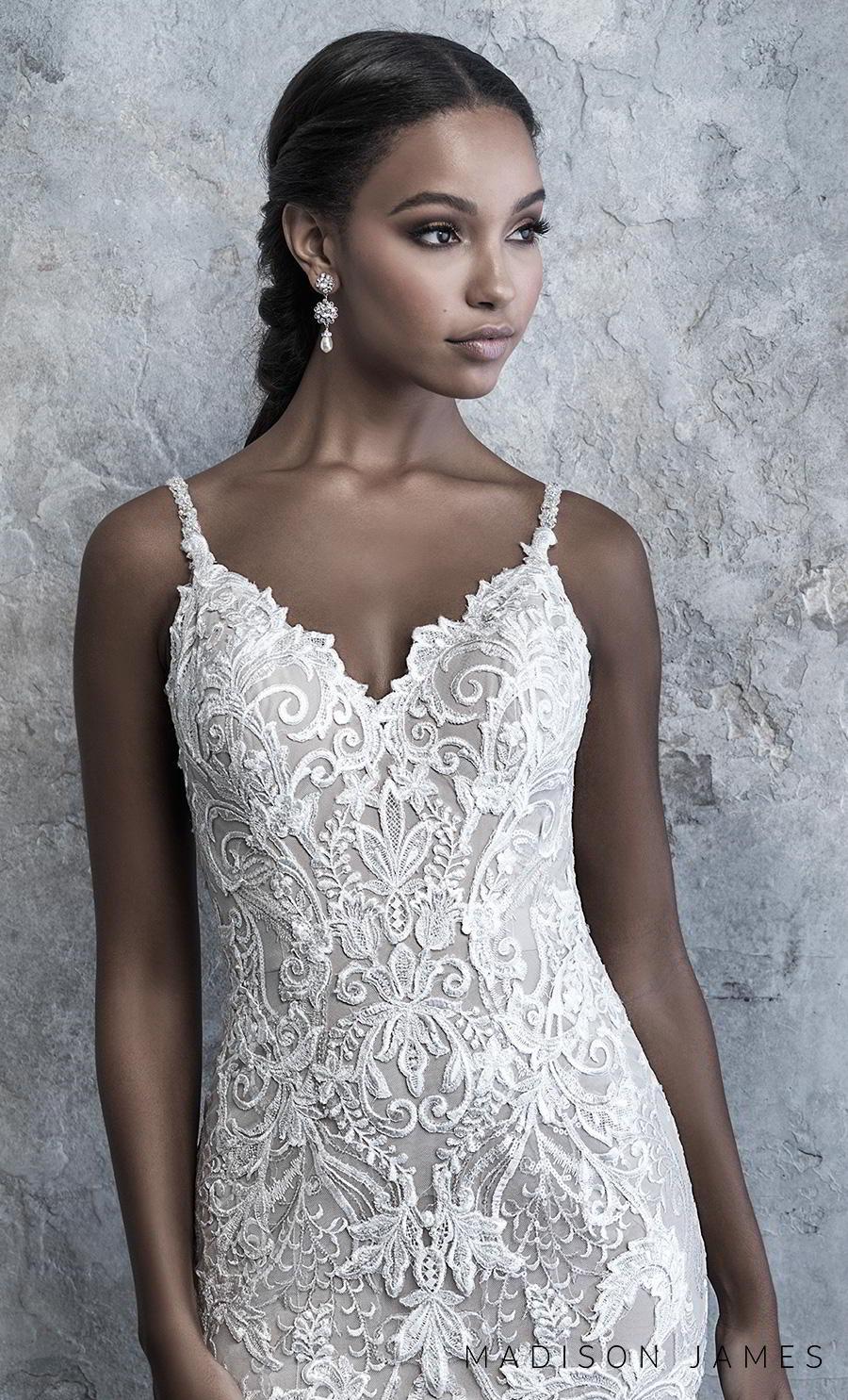 madison james 2019 bridal sleeveless thin strap diamond neck full embellishment elegant drop waist a line wedding dress v back chapel train (520) zv