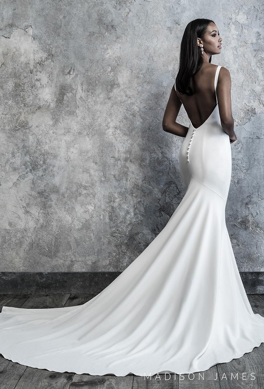 madison james 2019 bridal sleeveless with strap deep v neck simple minimalist elegant classy fit and flare wedding dress backless low v back chapel train (504) bv