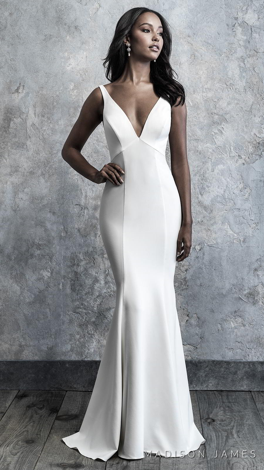 madison james 2019 bridal sleeveless with strap deep v neck simple minimalist elegant classy fit and flare wedding dress backless low v back chapel train (504) mv