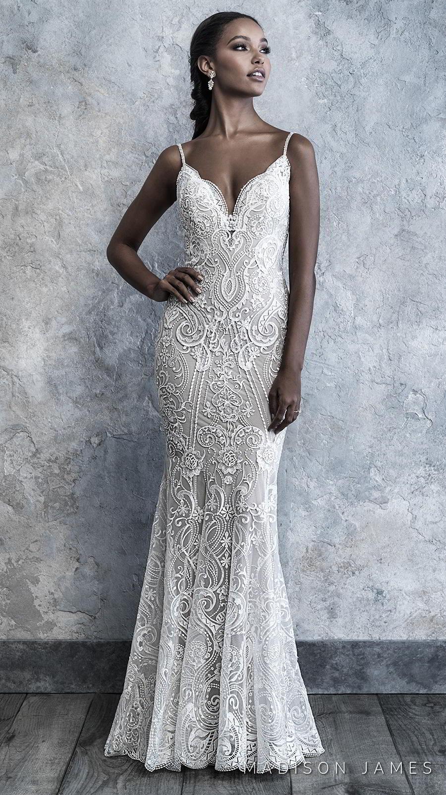 madison james 2019 bridal spaghetti strap diamond neckline full embellishment elegant sheath wedding dress backless scoop back sweep train (510) mv