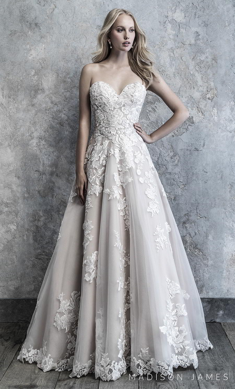 madison james 2019 bridal strapless ssweetheart neckline heavily embellished bodice hem romantic a line wedding dress mid back chapel train (516) mv