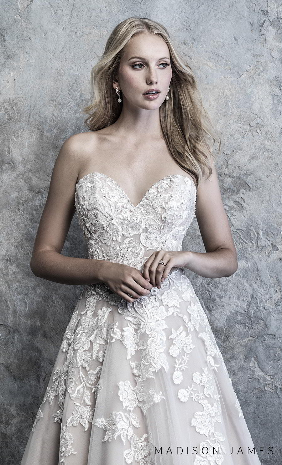 madison james 2019 bridal strapless ssweetheart neckline heavily embellished bodice hem romantic a line wedding dress mid back chapel train (516) zv