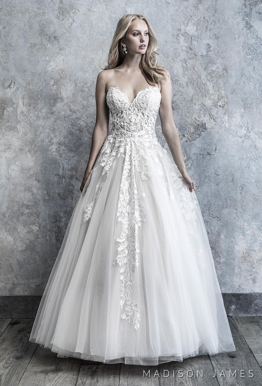 madison james 2019 bridal strapless sweetheart neckline heavily embellished bodice romantic a line wedding dress mid back chapel train (509) mv