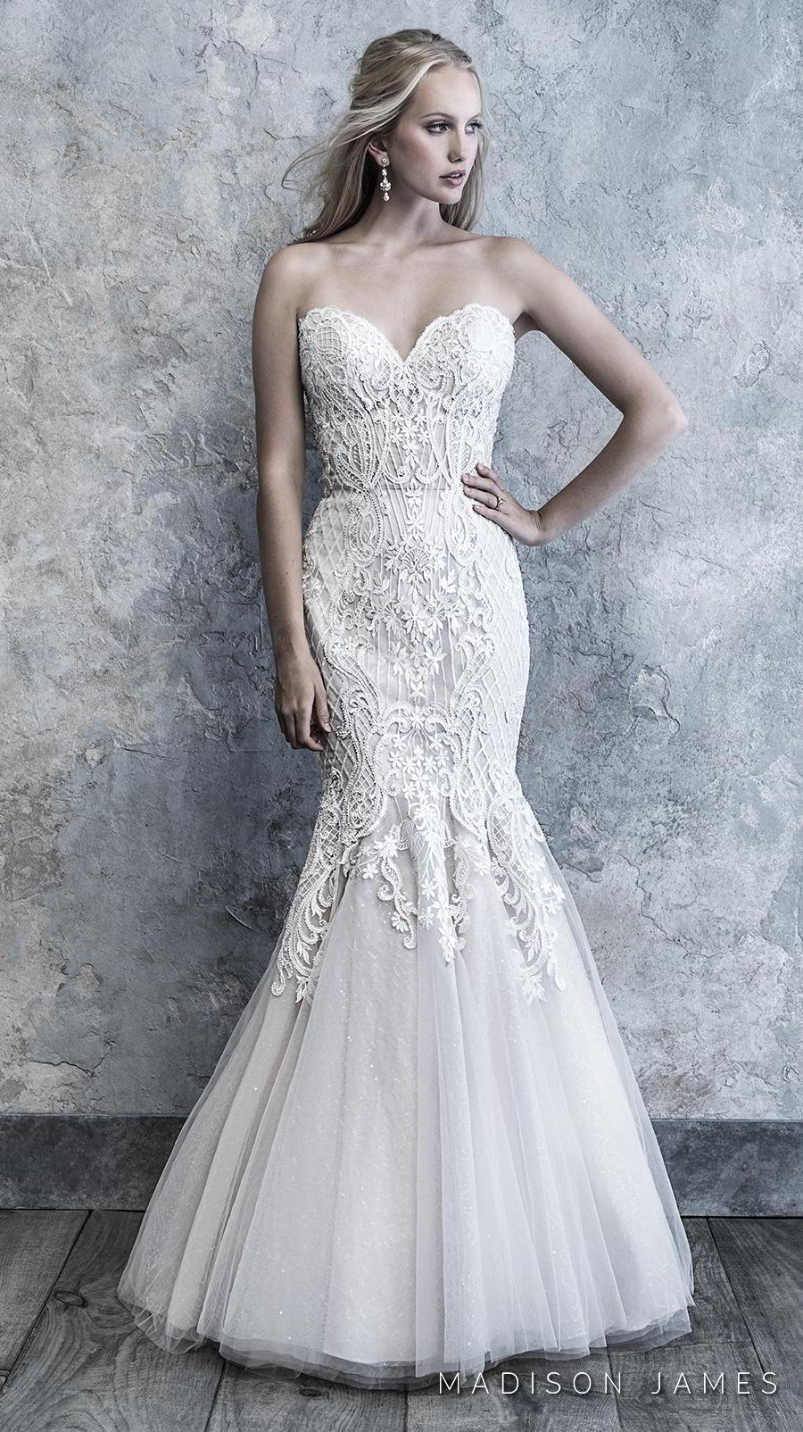 madison james 2019 bridal strapless sweetheart neckline heavily embellished bodice romantic mermaid wedding dress mid back chapel train (505) mv