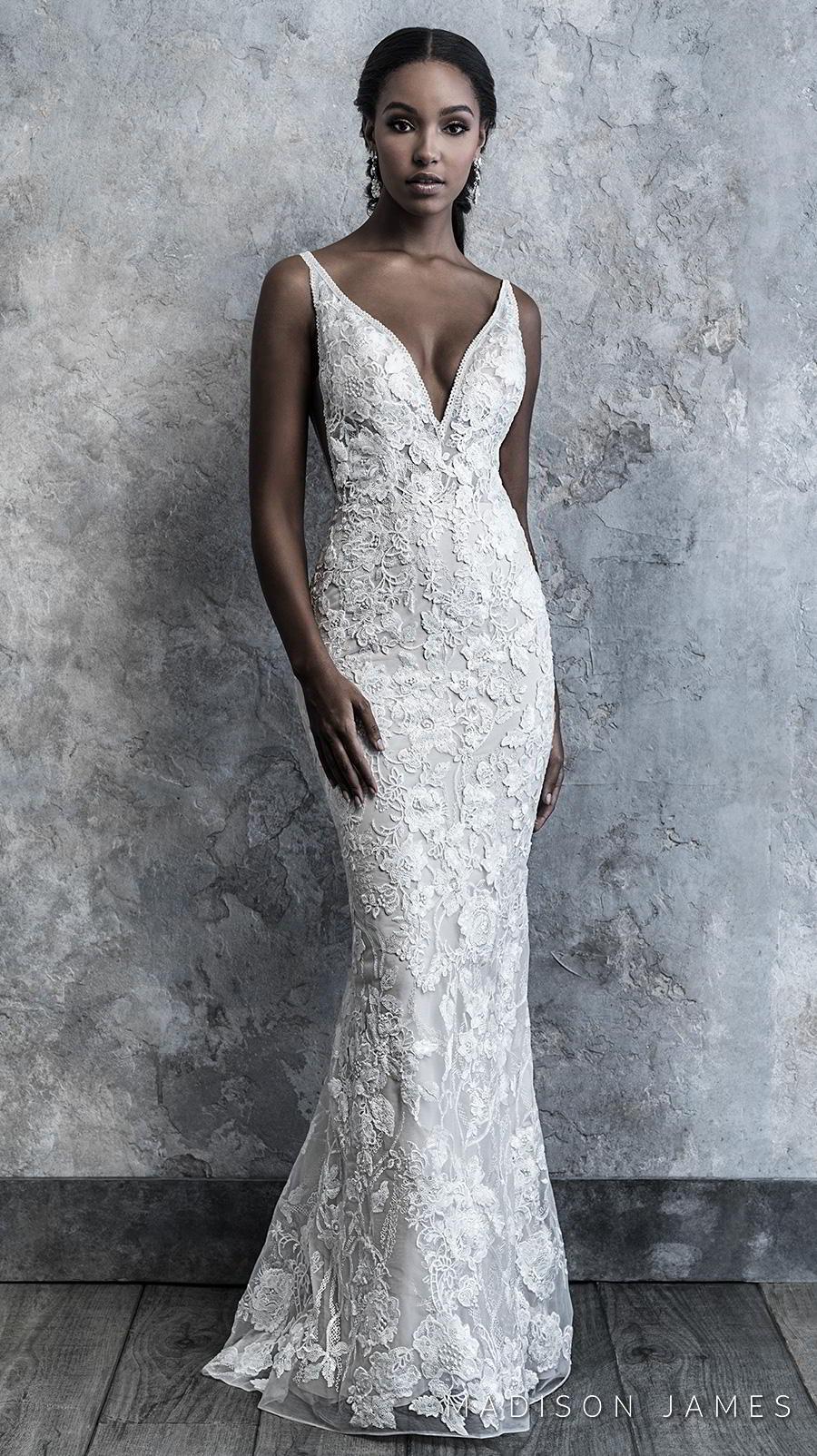 madison james 2019 bridal thin strap deep v neck full embellishment elegant fit and flare wedding dress backless low v back chapel train (514) mv