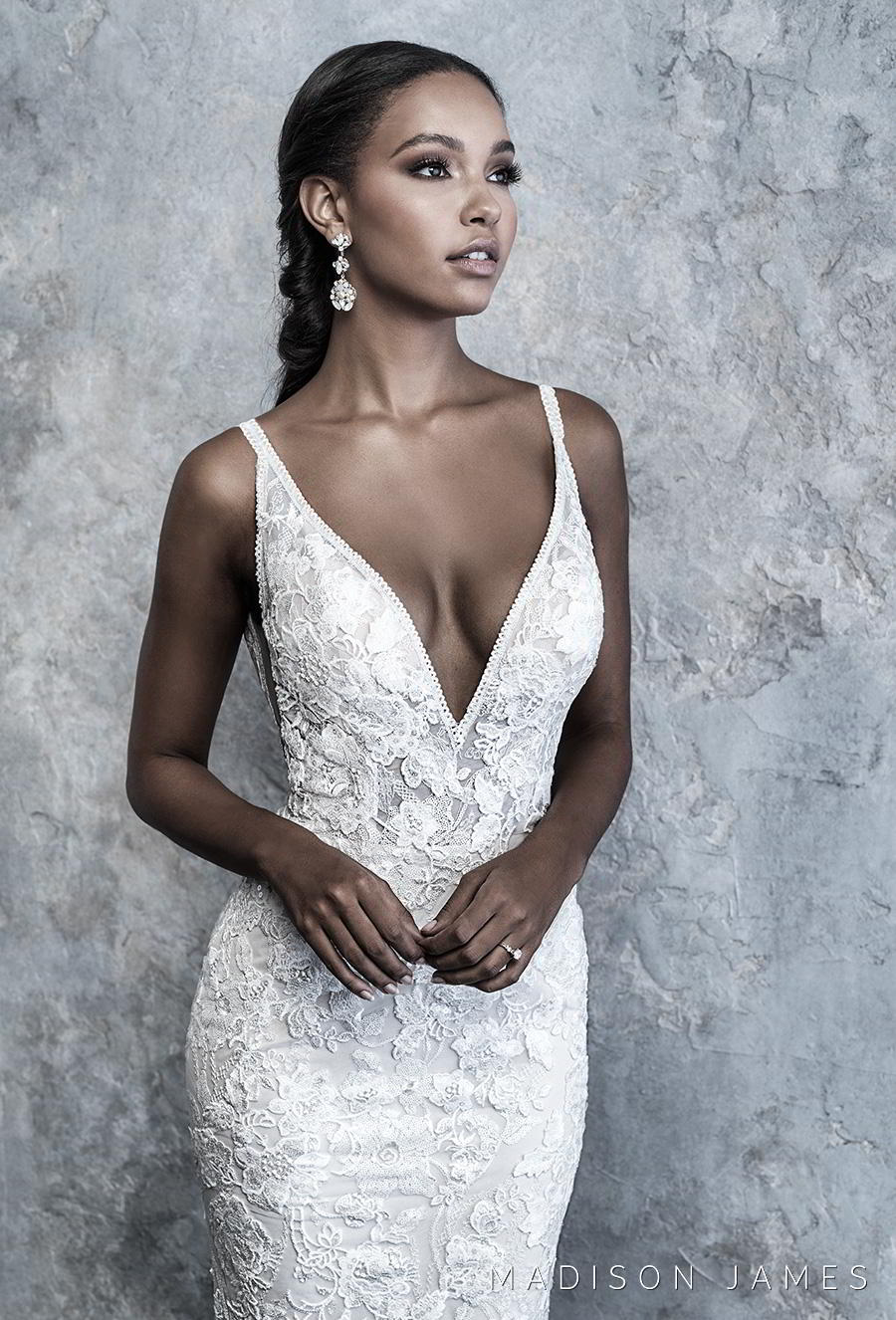 madison james 2019 bridal thin strap deep v neck full embellishment elegant fit and flare wedding dress backless low v back chapel train (514) zv