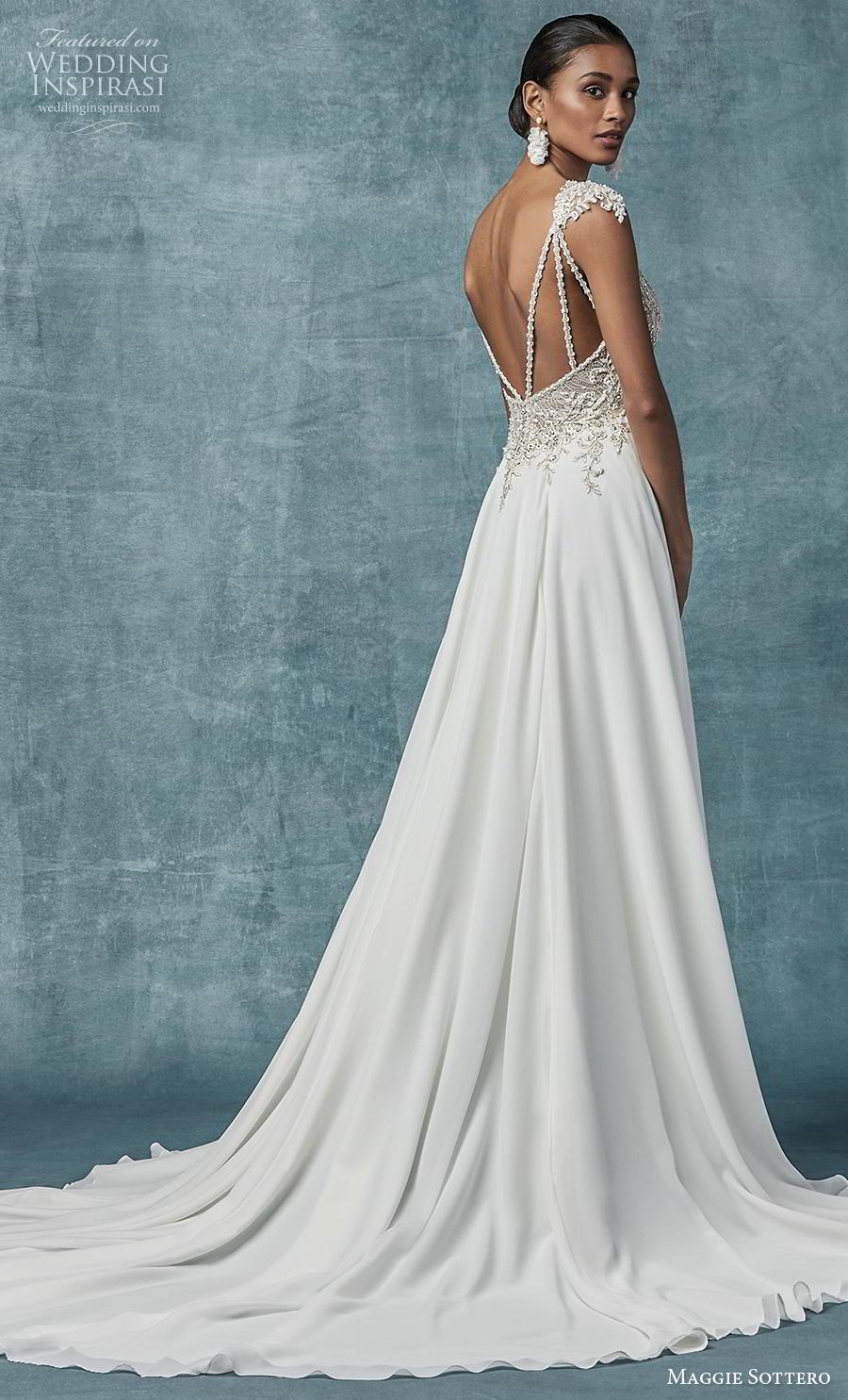 maggie sottero spring 2019 bridal cap sleeves deep v neck heavily embellished bodice glitzy elegant soft a  line wedding dress backless chapel train (4) bv