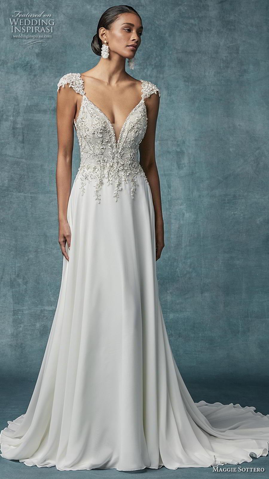 maggie sottero spring 2019 bridal cap sleeves deep v neck heavily embellished bodice glitzy elegant soft a  line wedding dress backless chapel train (4) mv