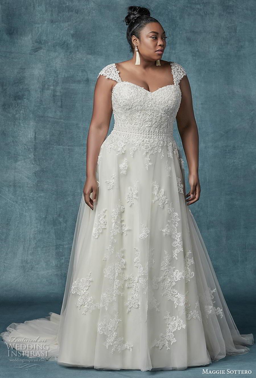 maggie sottero spring 2019 bridal cap sleeves strap sweetheart neckline heavily embellished bodice romantic a  line wedding dress mid back chapel train (3) mv