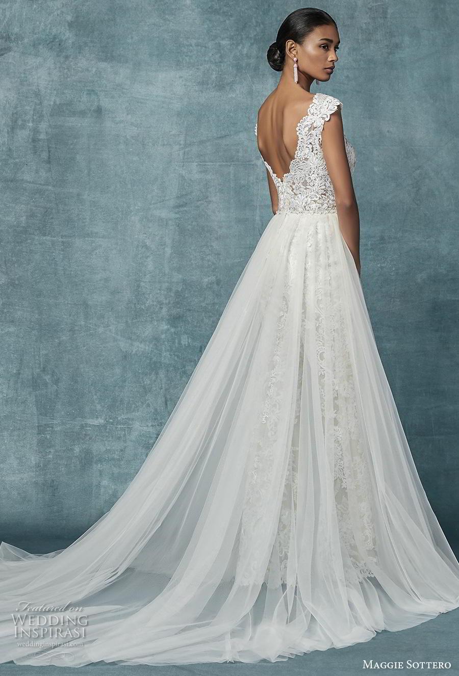 maggie sottero spring 2019 bridal cap sleeves v neck full embellishment modern romantic jumpsuit wedding dress a  line overskirt v back chapel train (21) bv