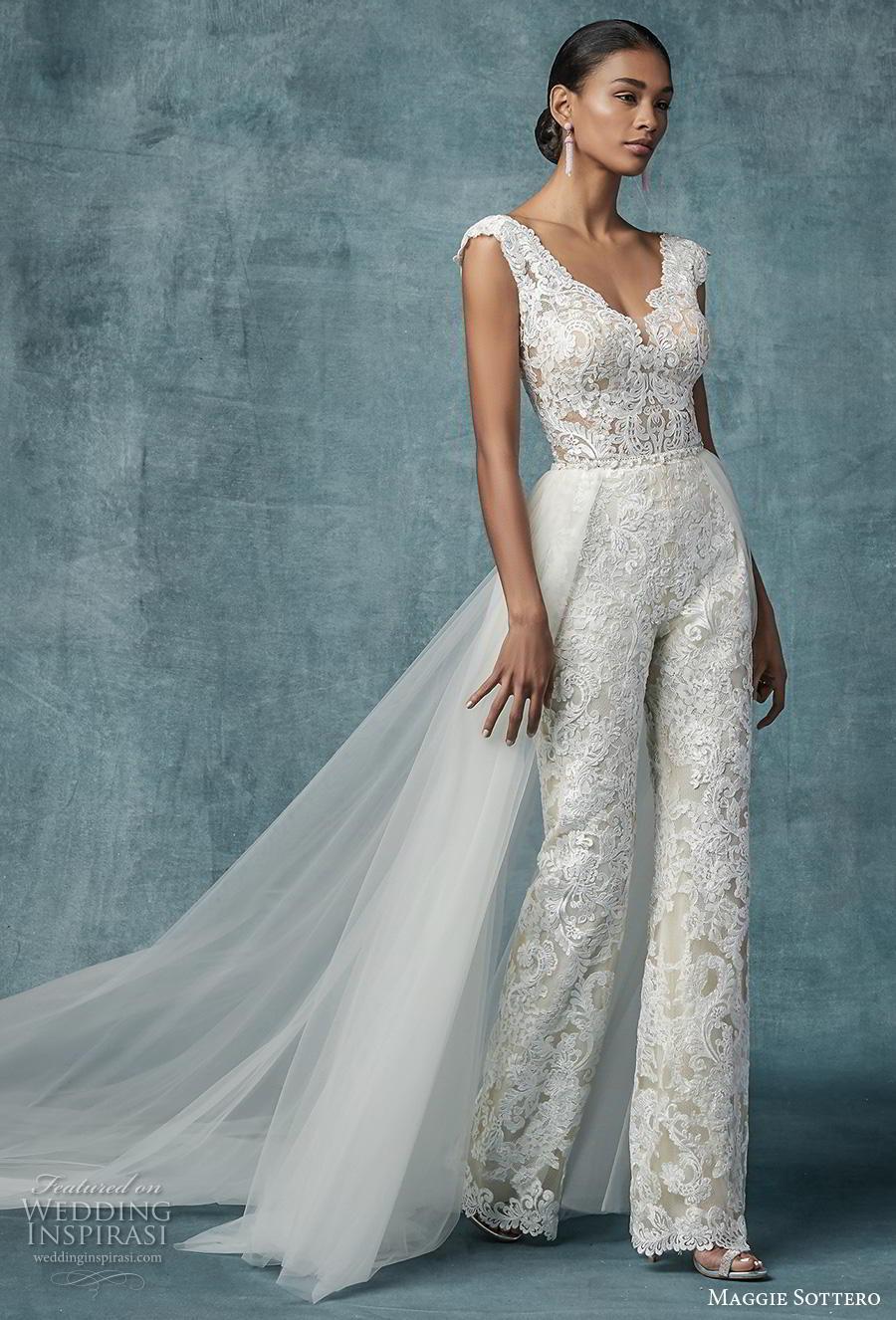 maggie sottero spring 2019 bridal cap sleeves v neck full embellishment modern romantic jumpsuit wedding dress a  line overskirt v back chapel train (21) mv
