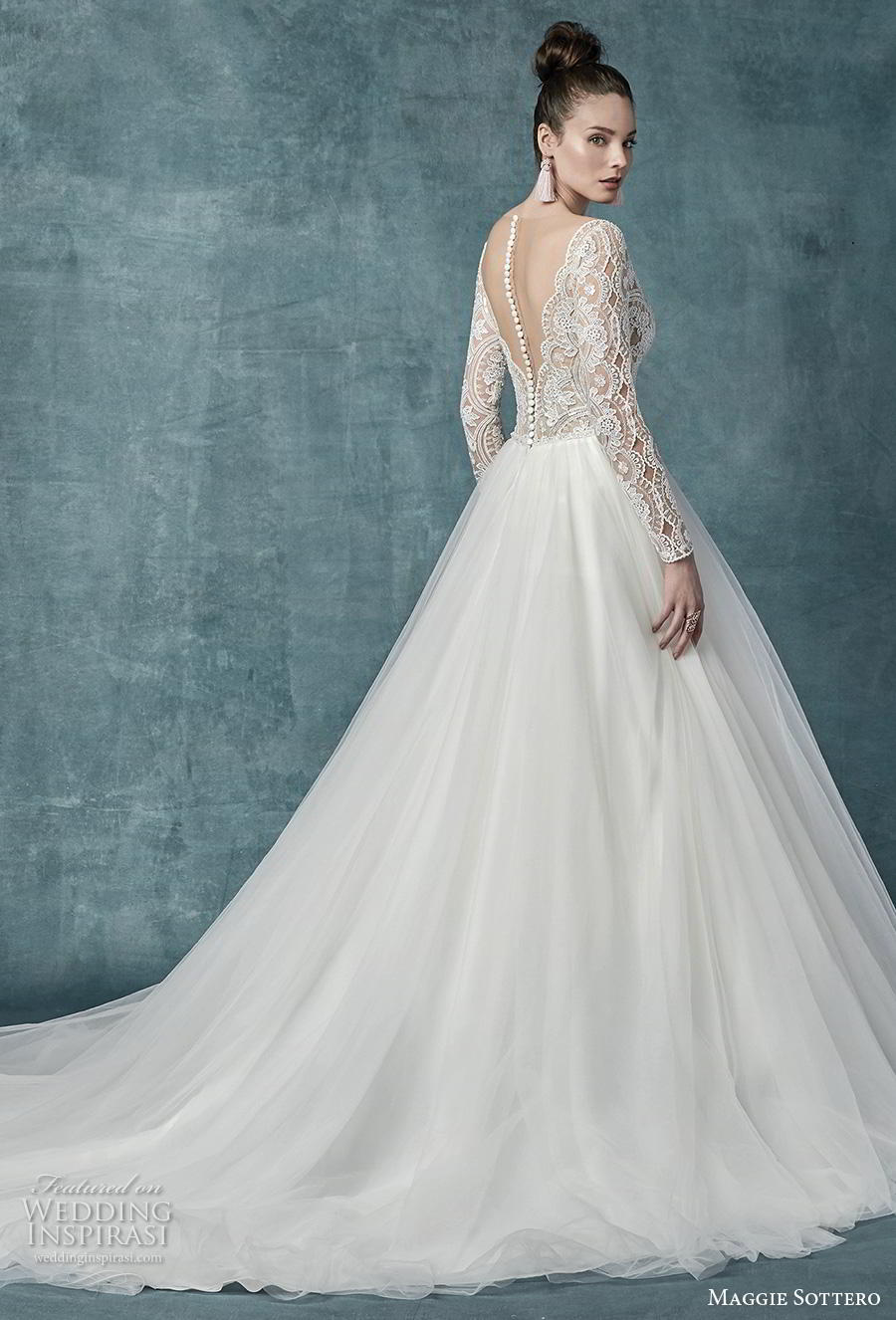 maggie sottero spring 2019 bridal long sleeves deep v neck heavily embellished bodice romantic a  line wedding dress sheer button back chapel train (22) bv
