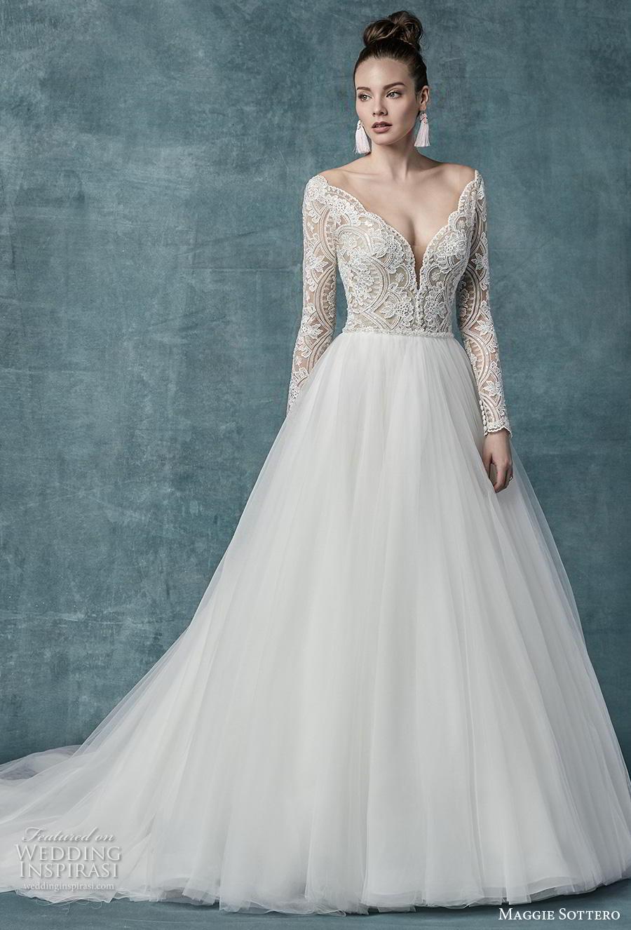 maggie sottero spring 2019 bridal long sleeves deep v neck heavily embellished bodice romantic a  line wedding dress sheer button back chapel train (22) mv