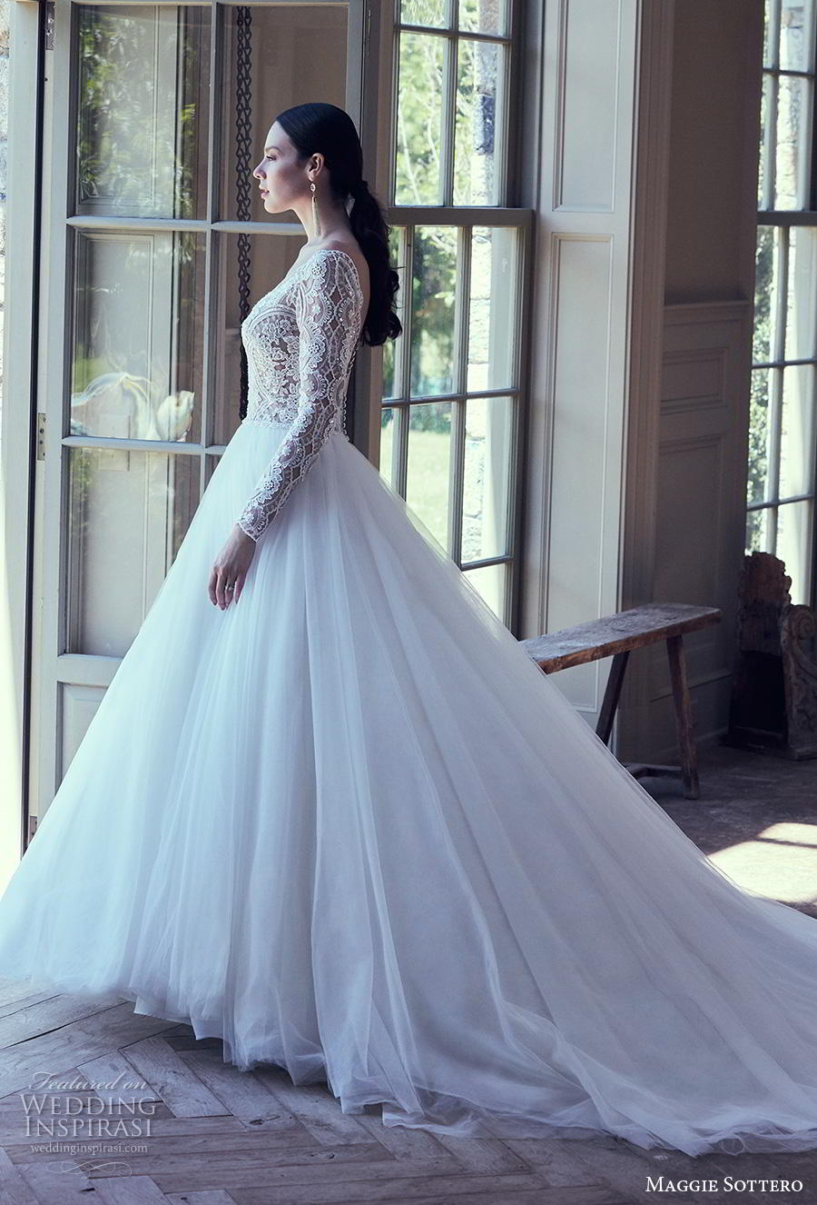 7d2db3b6c0 maggie sottero spring 2019 bridal long sleeves deep v neck heavily  embellished bodice romantic a line