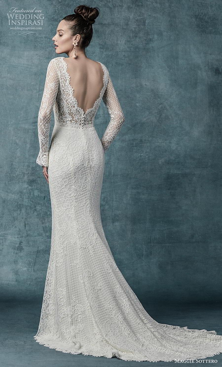 maggie sottero spring 2019 bridal long sleeves v neck full embellishment elegant fit and flare wedding dress backless v back medium train (14) bv