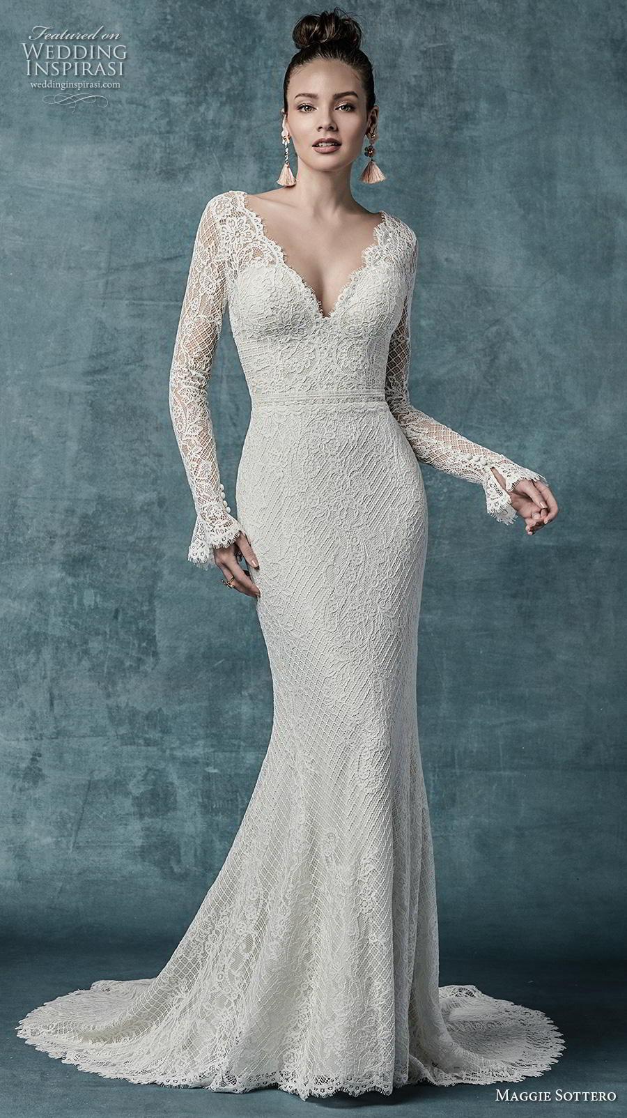 maggie sottero spring 2019 bridal long sleeves v neck full embellishment elegant fit and flare wedding dress backless v back medium train (14) mv