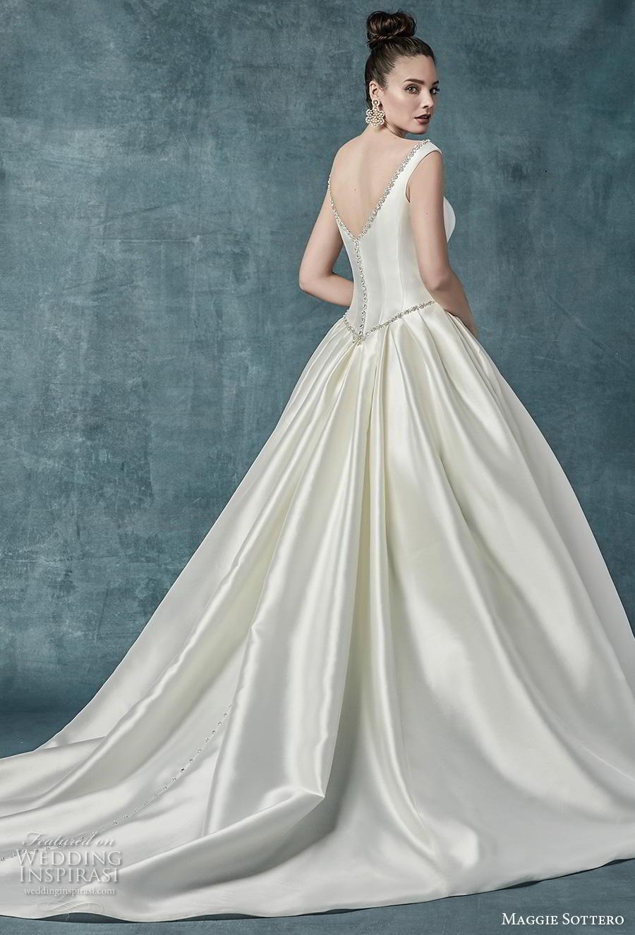 maggie sottero spring 2019 bridal off the shoulder scoop neckline simple elegant satin princess classic ball gown a  line wedding dress pockets mid back chapel train (5) bv
