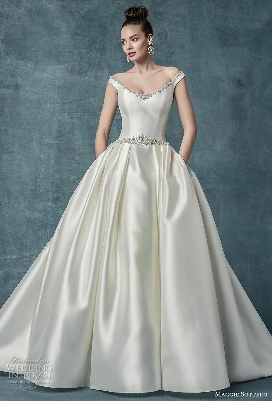 maggie sottero spring 2019 bridal off the shoulder scoop neckline simple elegant satin princess classic ball gown a  line wedding dress pockets mid back chapel train (5) mv