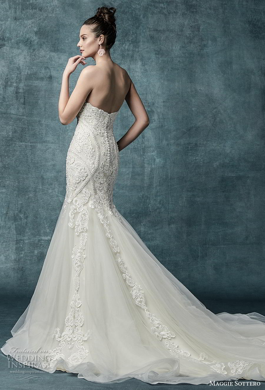 maggie sottero spring 2019 bridal off the shoulder sweetheart neckline heavily embellished bodice romantic fit and flare wedding dress mid back chapel train (18) bv