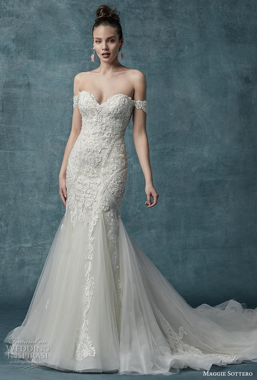 maggie sottero spring 2019 bridal off the shoulder sweetheart neckline heavily embellished bodice romantic fit and flare wedding dress mid back chapel train (18) mv