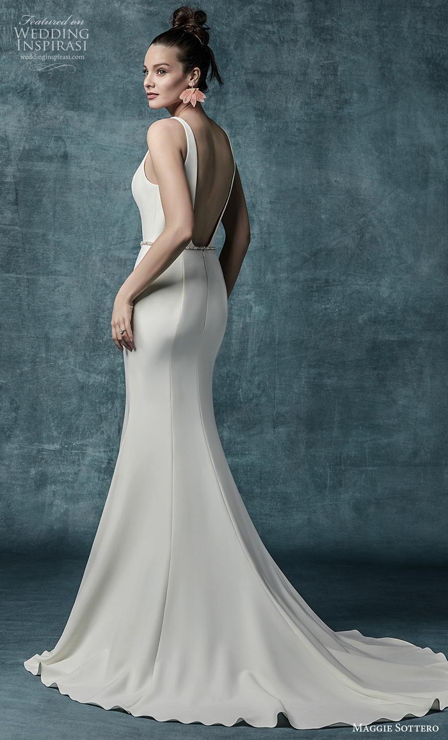 maggie sottero spring 2019 bridal sleeveless bateau neckline simple minimalist elegant fit and flare wedding dress backless low back medium train (15) bv