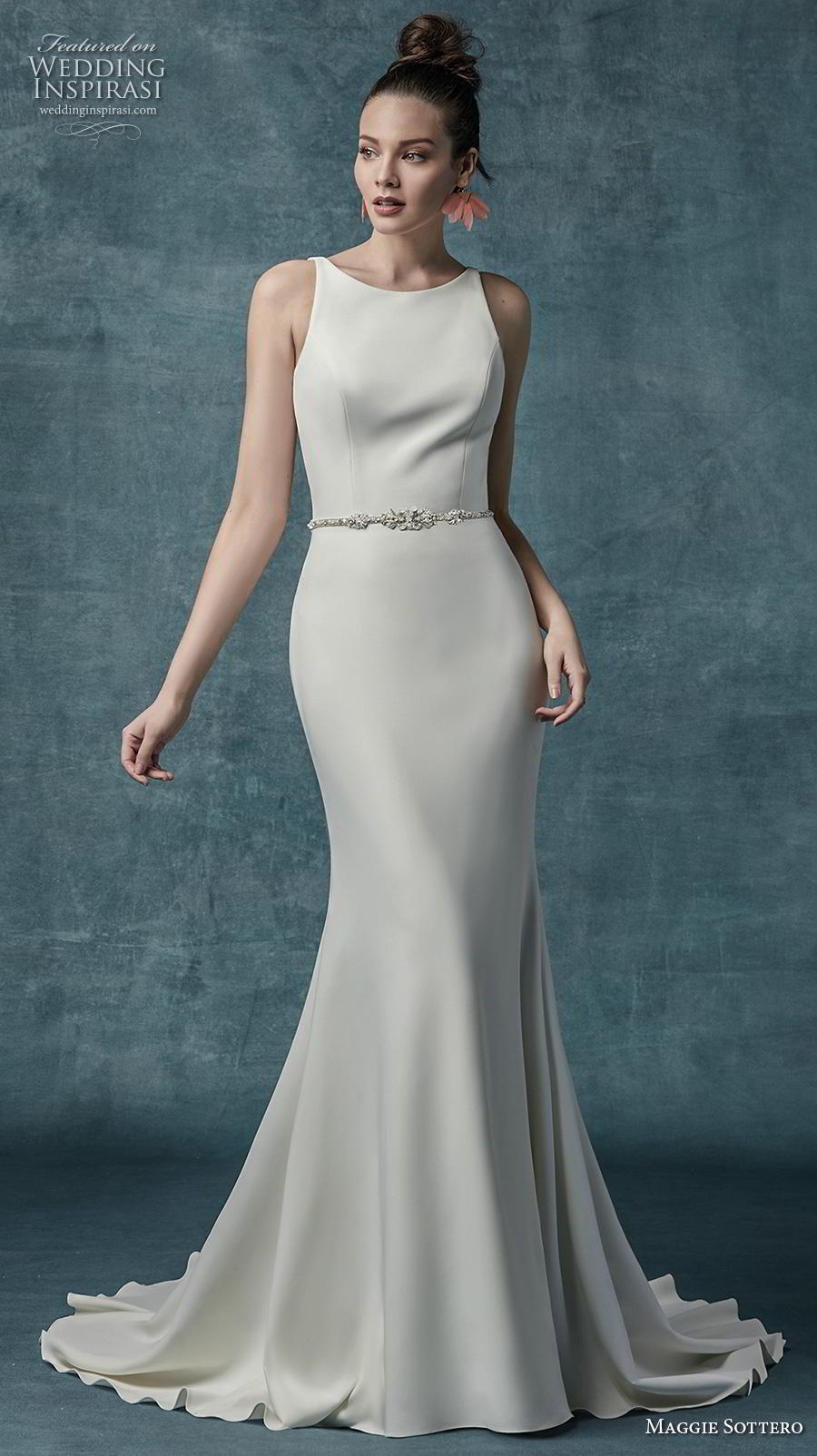 maggie sottero spring 2019 bridal sleeveless bateau neckline simple minimalist elegant fit and flare wedding dress backless low back medium train (15) mv