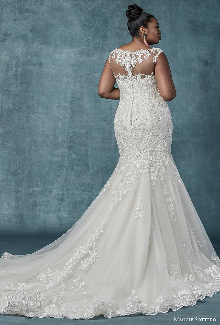 maggie sottero spring 2019 bridal sleeveless illusion bateau sweetheart neckline heavily embellished bodice elegant mermaid wedding dress sheer lace back chapel train (13) bv