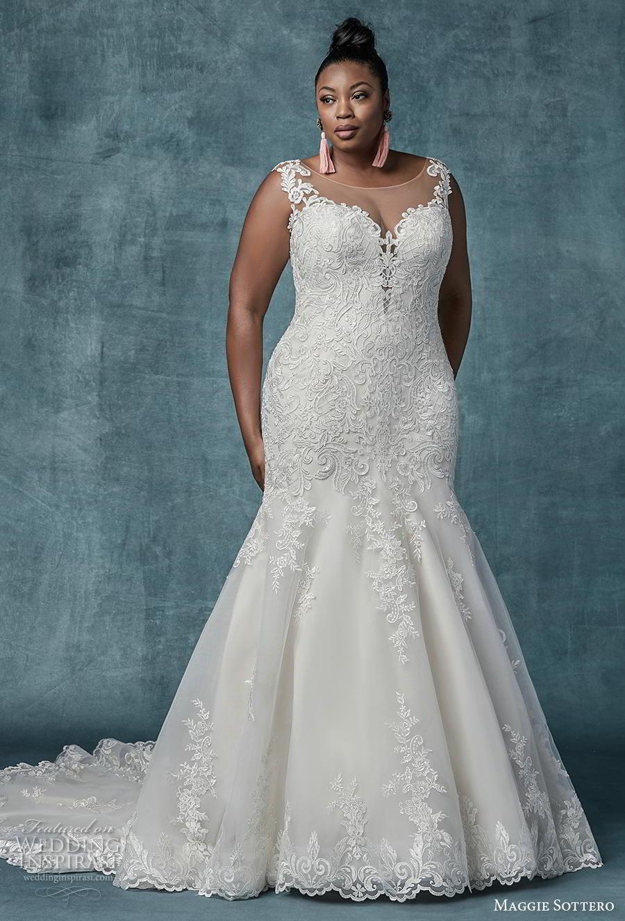 maggie sottero spring 2019 bridal sleeveless illusion bateau sweetheart neckline heavily embellished bodice elegant mermaid wedding dress sheer lace back chapel train (13) mv