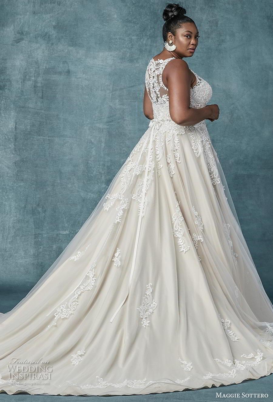 maggie sottero spring 2019 bridal sleeveless illusion jewel sweetheart neckline heavily embellished bodice romantic a  line wedding dress sheer lace back chapel train (7) bv