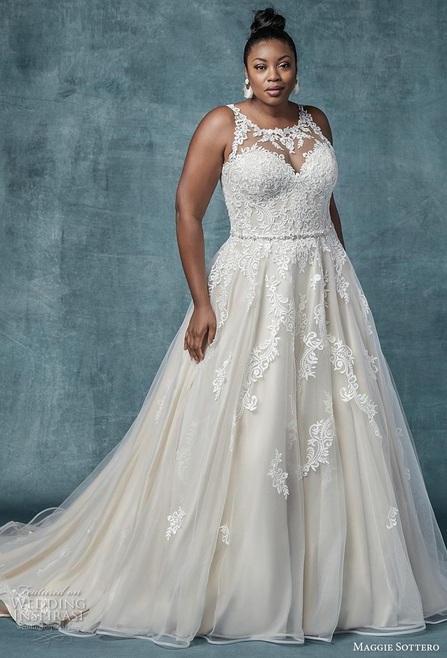 maggie sottero spring 2019 bridal sleeveless illusion jewel sweetheart neckline heavily embellished bodice romantic a  line wedding dress sheer lace back chapel train (7) mv