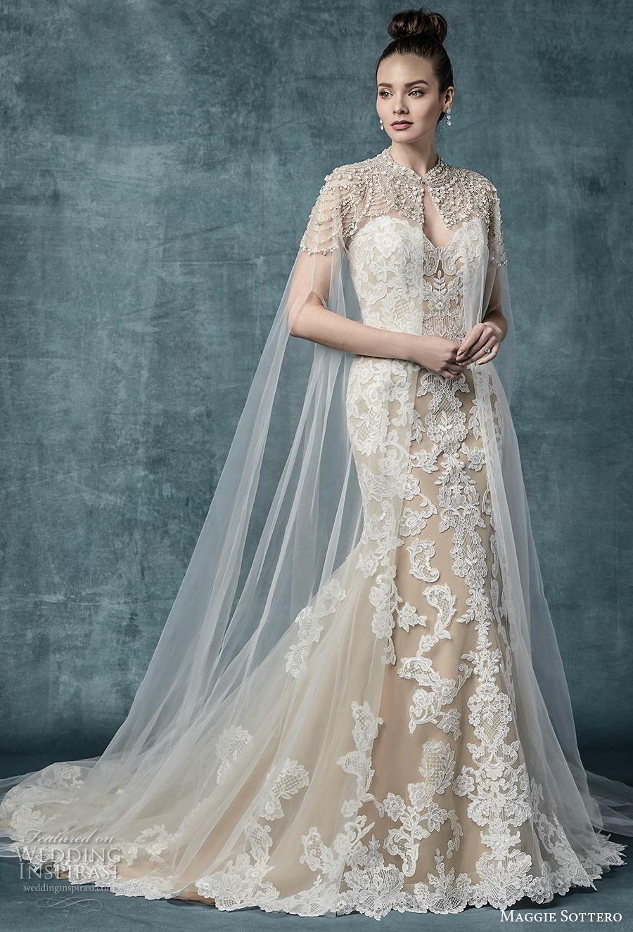 maggie sottero spring 2019 bridal sleeveless spaghetti strap sweetheart neckline full embellishment elegant ivory mermaid wedding dress cape mid back chapel train (11) mv jpg