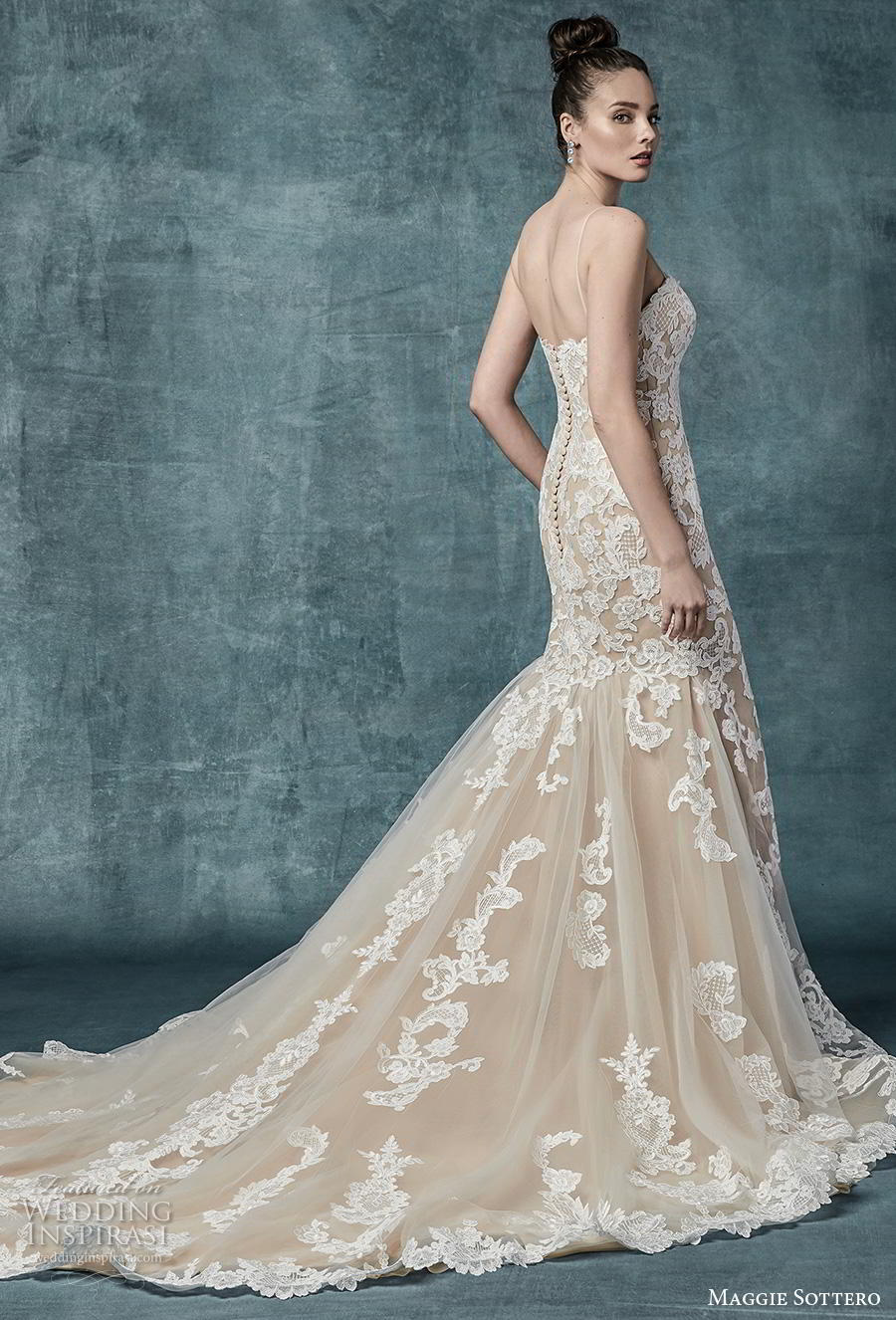 maggie sottero spring 2019 bridal sleeveless spaghetti strap sweetheart neckline full embellishment elegant ivory mermaid wedding dress mid back chapel train (11) bv