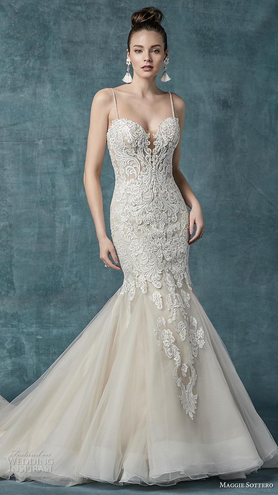 maggie sottero spring 2019 bridal sleeveless spaghetti strap sweetheart neckline heavily embellished bodice elegant mermaid wedding dress mid back chapel train (2) mv