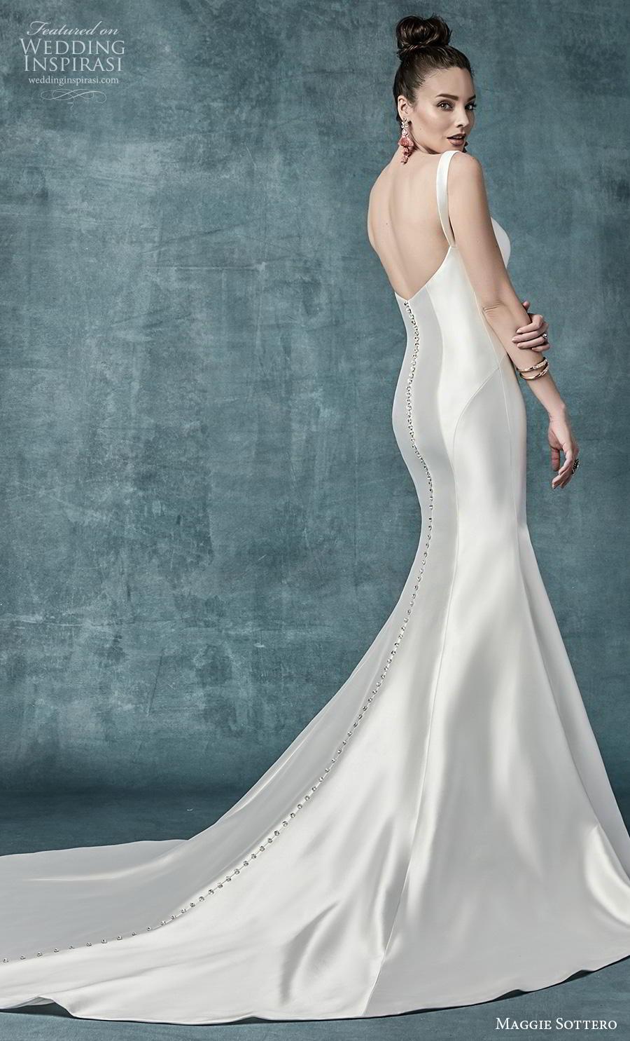 maggie sottero spring 2019 bridal sleeveless with strap diamond neckline simple minimalist satin elegant mermaid wedding dress mid back chapel train (20) bv