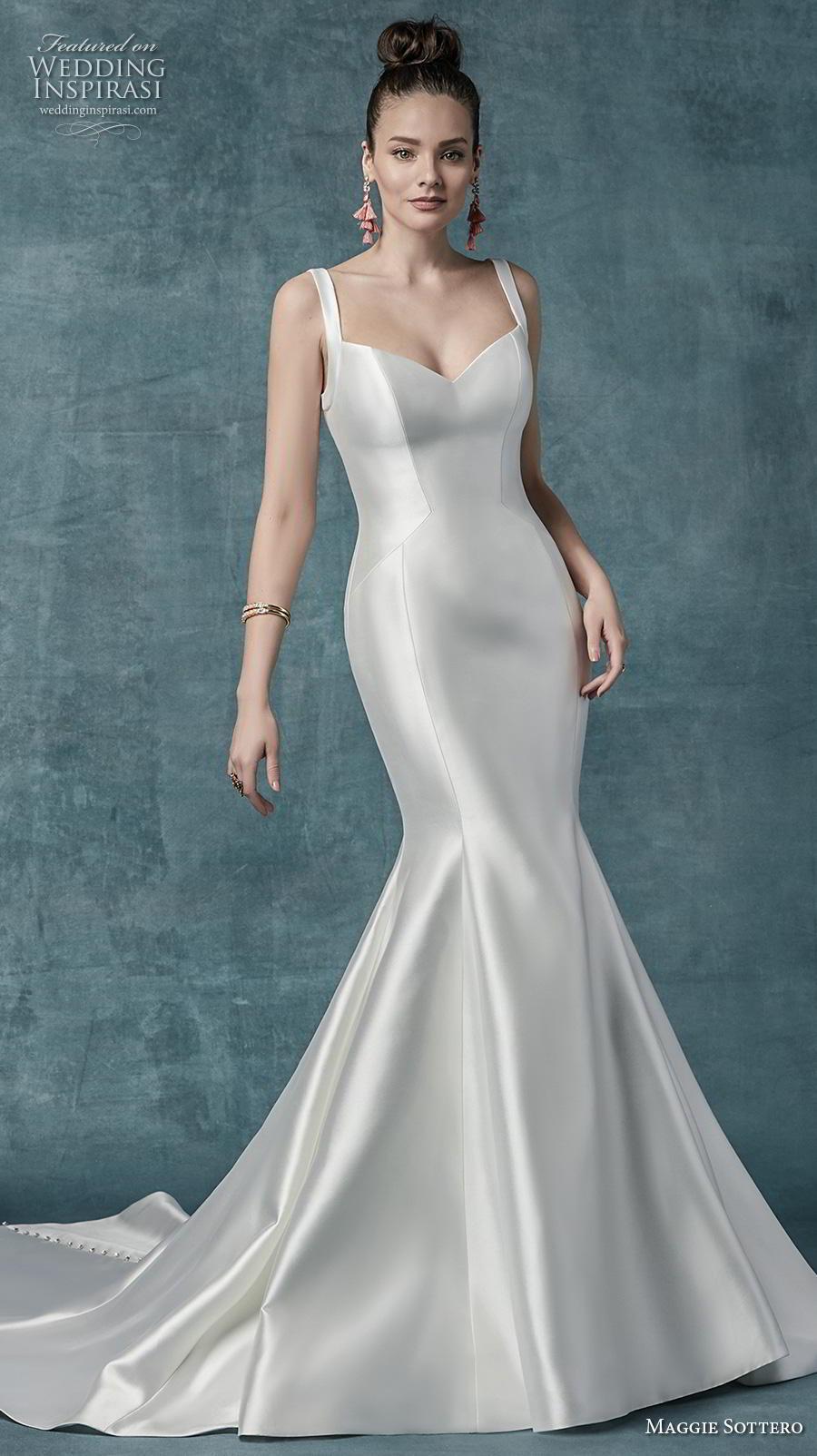 maggie sottero spring 2019 bridal sleeveless with strap diamond neckline simple minimalist satin elegant mermaid wedding dress mid back chapel train (20) mv