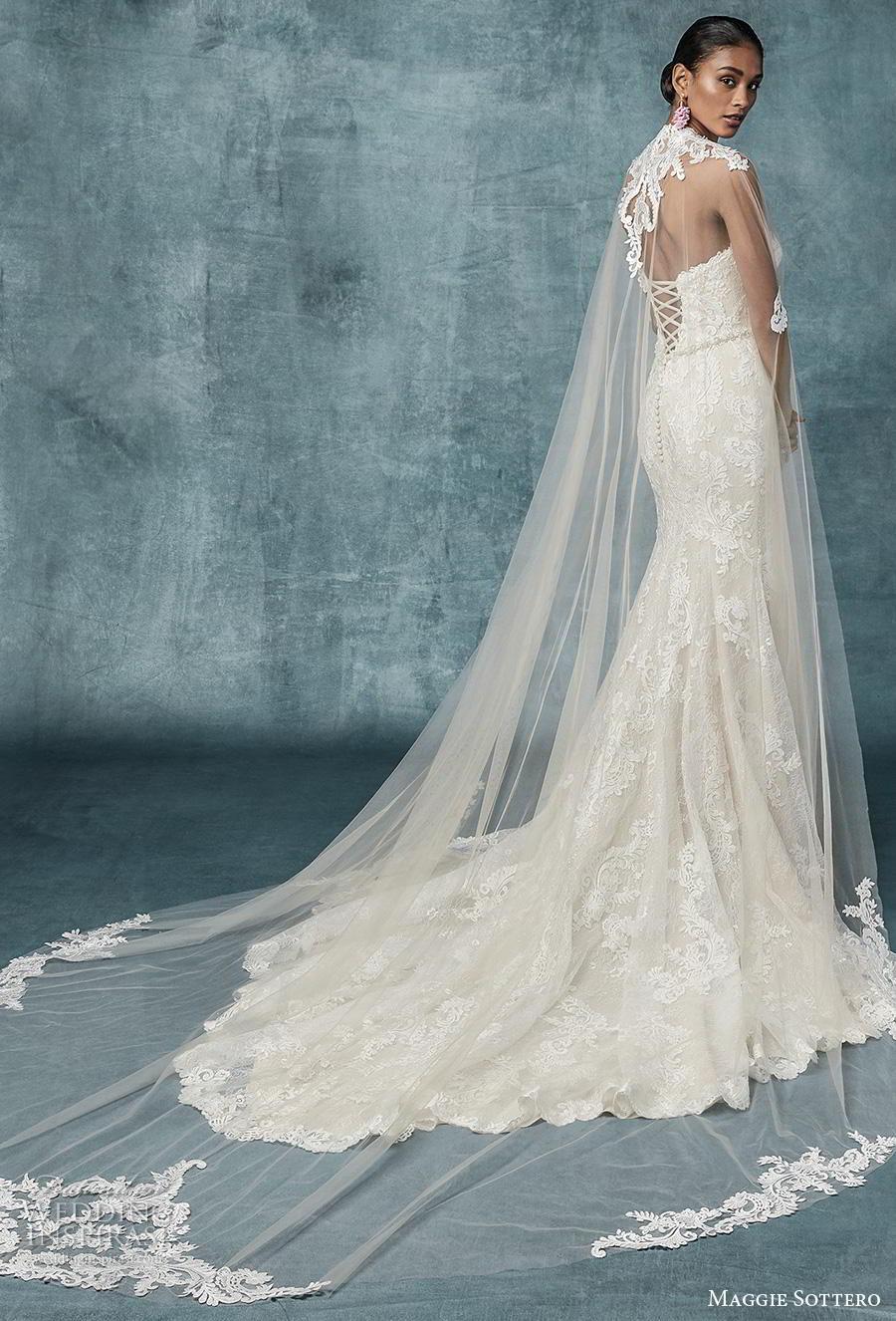 maggie sottero spring 2019 bridal strapless sweetheart neckline full embellishment elegant fit and flare wedding dress cape corset back chapel train (9) bv