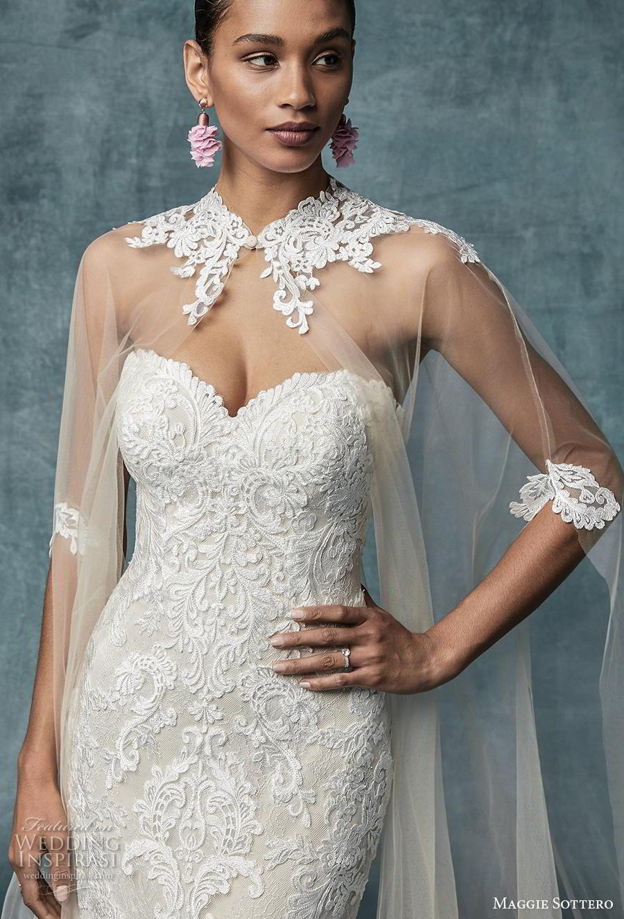 maggie sottero spring 2019 bridal strapless sweetheart neckline full embellishment elegant fit and flare wedding dress cape corset back chapel train (9) zv