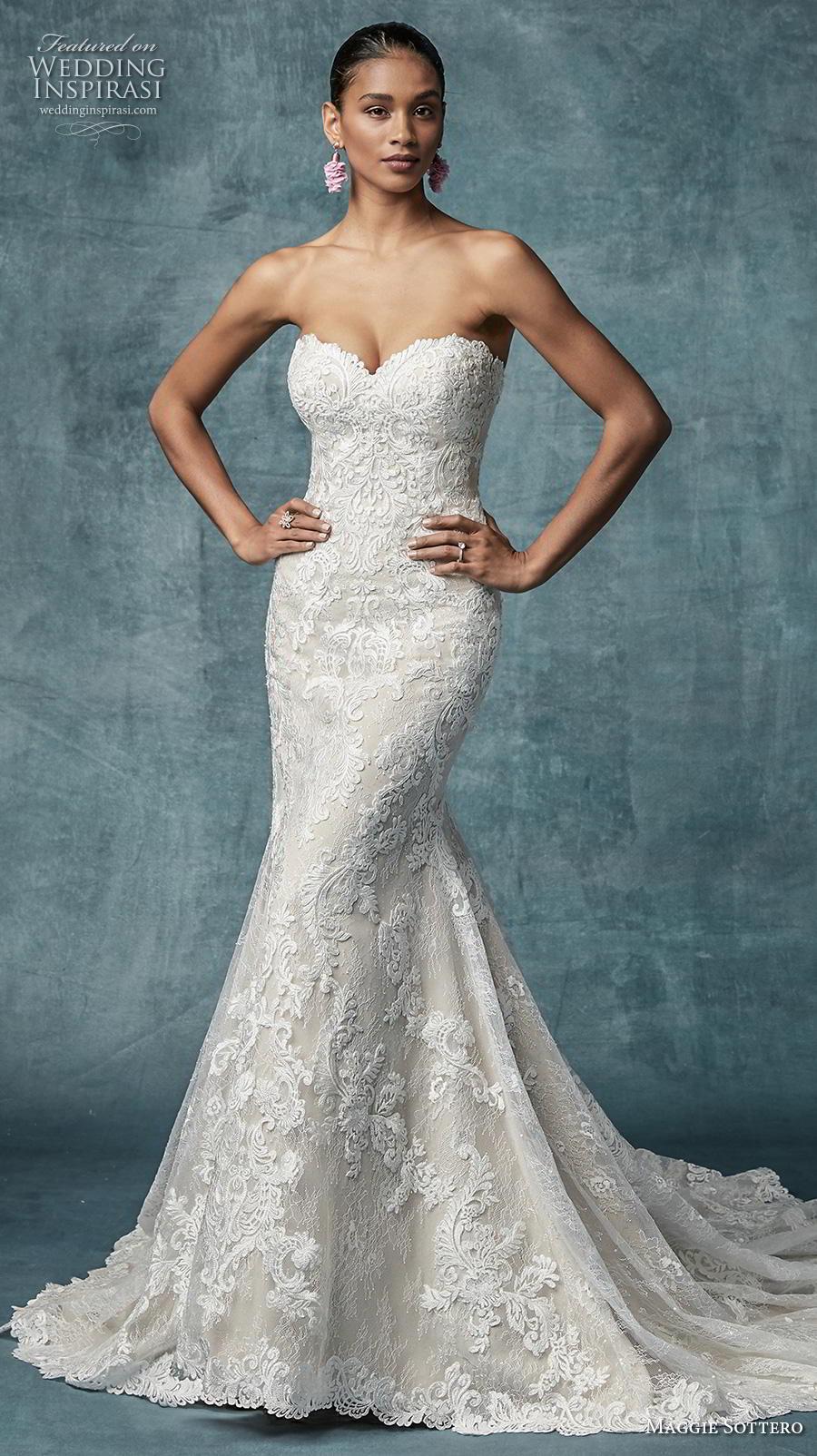maggie sottero spring 2019 bridal strapless sweetheart neckline full embellishment elegant fit and flare wedding dress corset back chapel train (9) mv