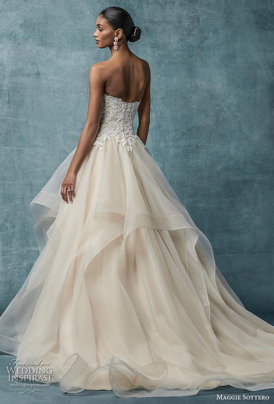 maggie sottero spring 2019 bridal strapless sweetheart neckline heavily embellished bodice layered skirt romantic blush a  line wedding dress mid back sweep train (1) bv