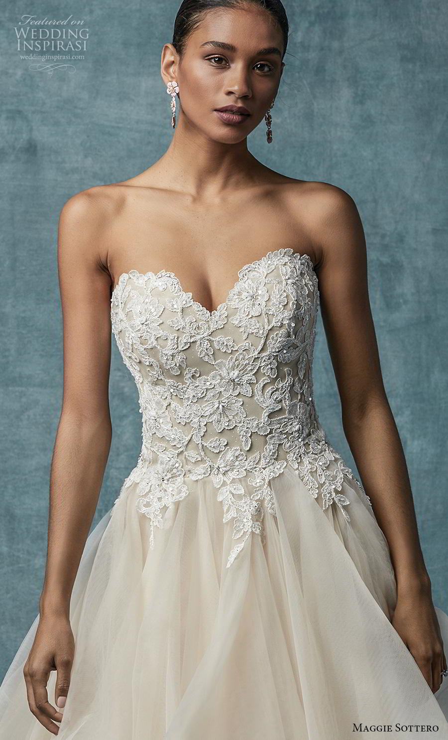 maggie sottero spring 2019 bridal strapless sweetheart neckline heavily embellished bodice layered skirt romantic blush a  line wedding dress mid back sweep train (1) zv
