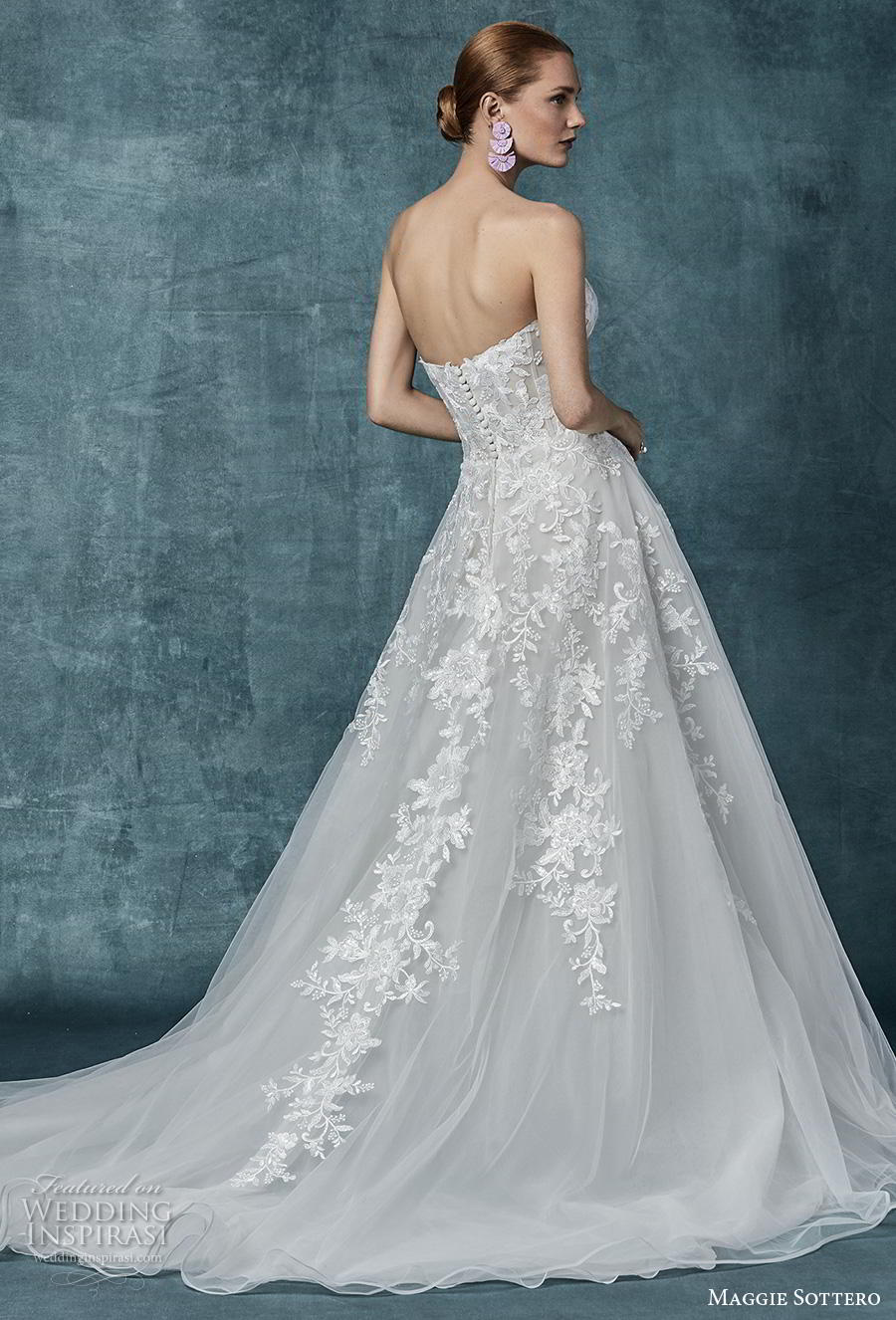 maggie sottero spring 2019 bridal strapless sweetheart neckline heavily embellished bodice romantic a  line wedding dress mid back chapel train (12) bv