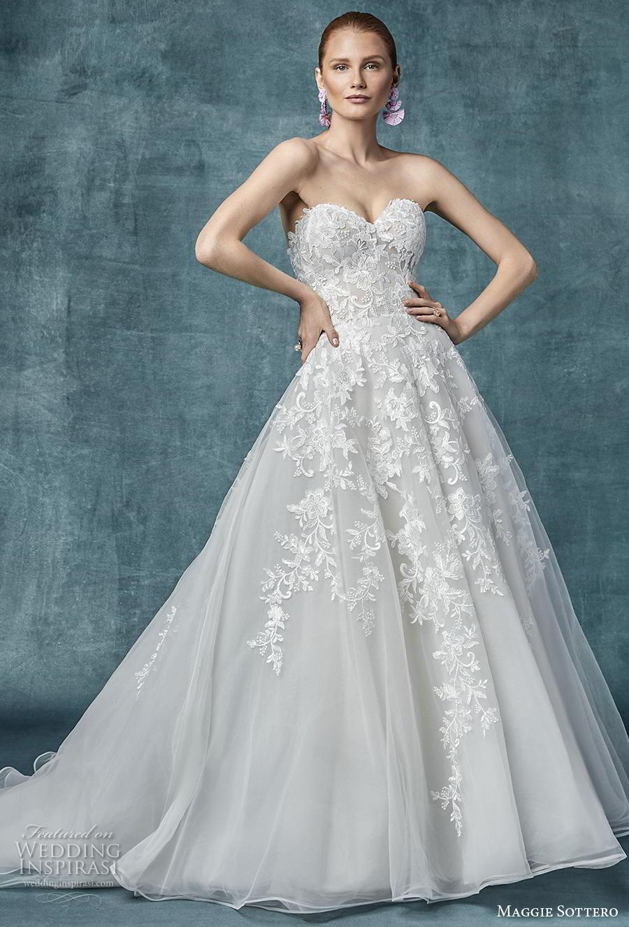 maggie sottero spring 2019 bridal strapless sweetheart neckline heavily embellished bodice romantic a  line wedding dress mid back chapel train (12) mv