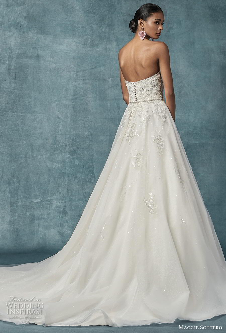 maggie sottero spring 2019 bridal strapless sweetheart neckline heavily embellished bodice romantic a  line wedding dress mid back chapel train (17) bv