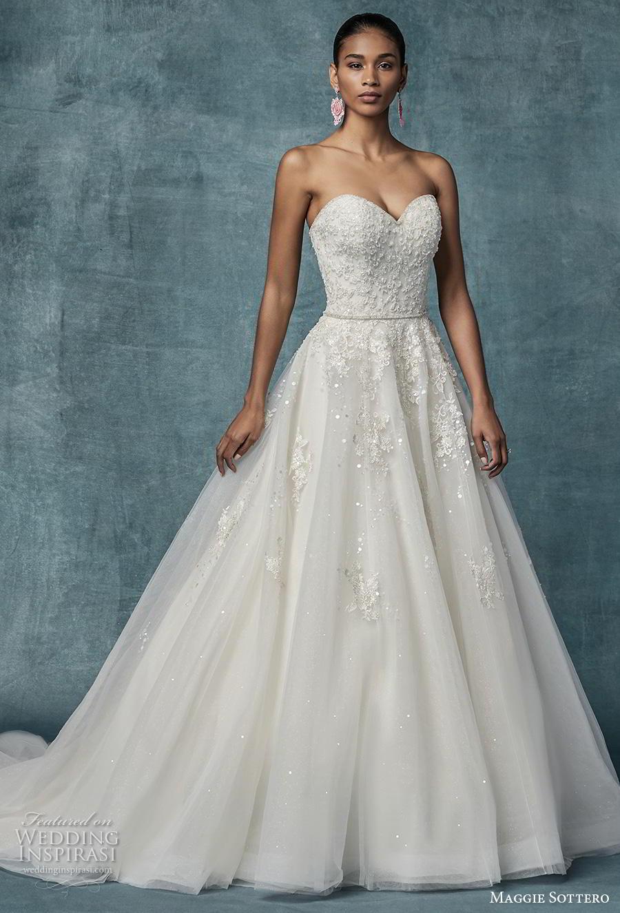 maggie sottero spring 2019 bridal strapless sweetheart neckline heavily embellished bodice romantic a  line wedding dress mid back chapel train (17) mv