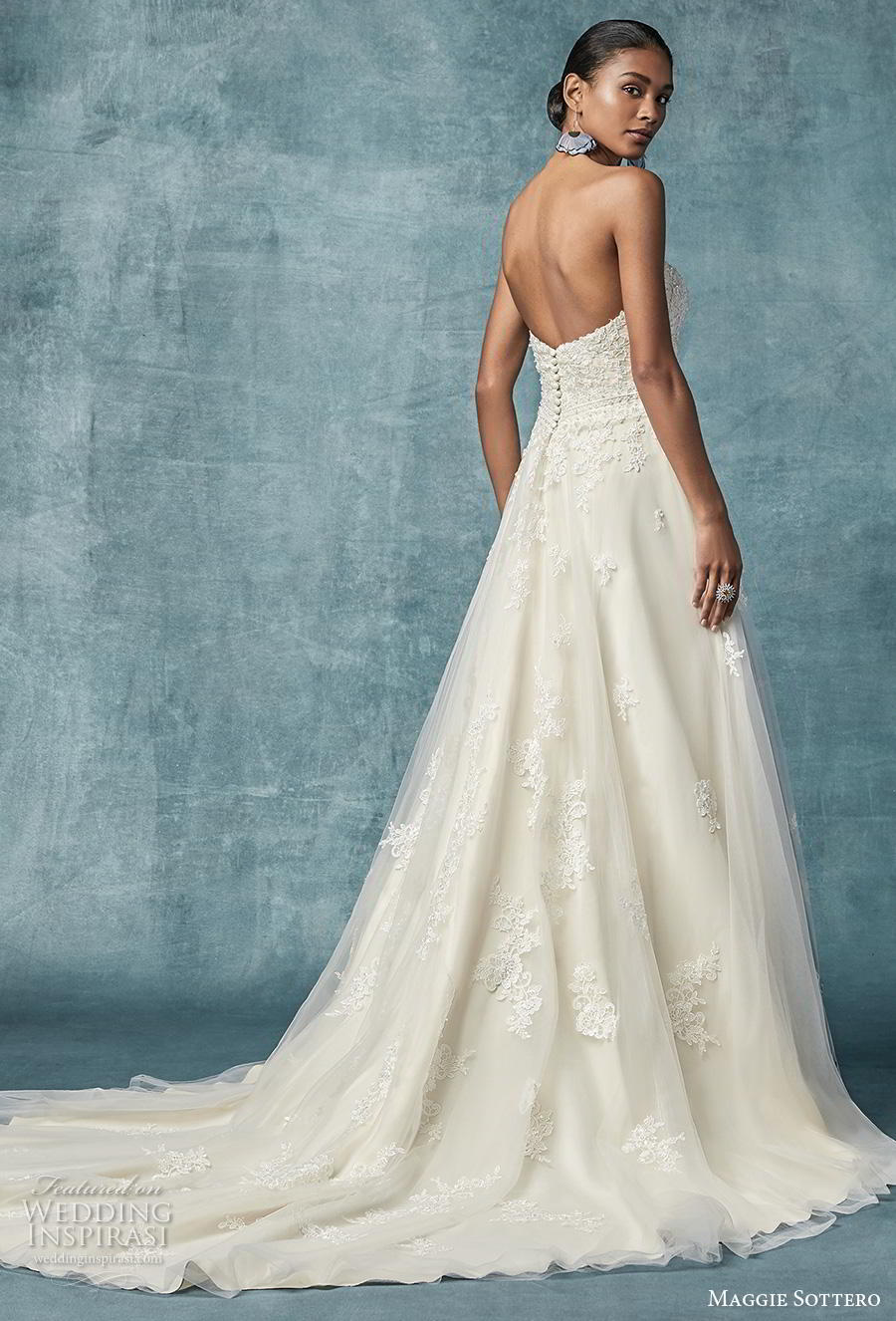 maggie sottero spring 2019 bridal strapless sweetheart neckline heavily embellished bodice romantic a  line wedding dress mid back chapel train (3) bv