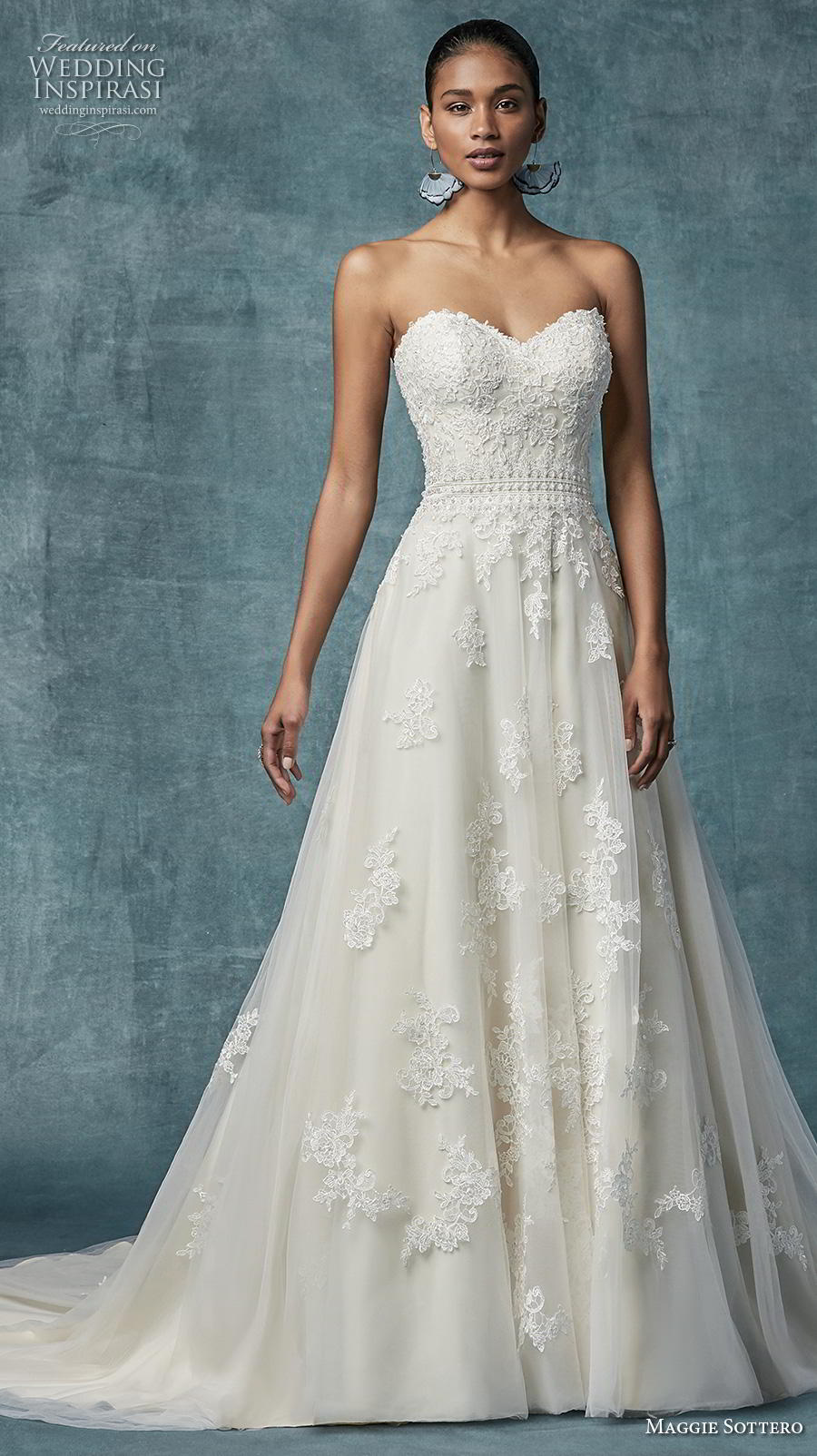 maggie sottero spring 2019 bridal strapless sweetheart neckline heavily embellished bodice romantic a  line wedding dress mid back chapel train (3) mv