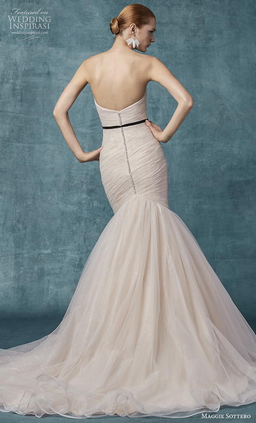 maggie sottero spring 2019 bridal strapless sweetheart neckline wrap over ruched bodice simple blush mermaid wedding dress mid back chapel train (10) bv