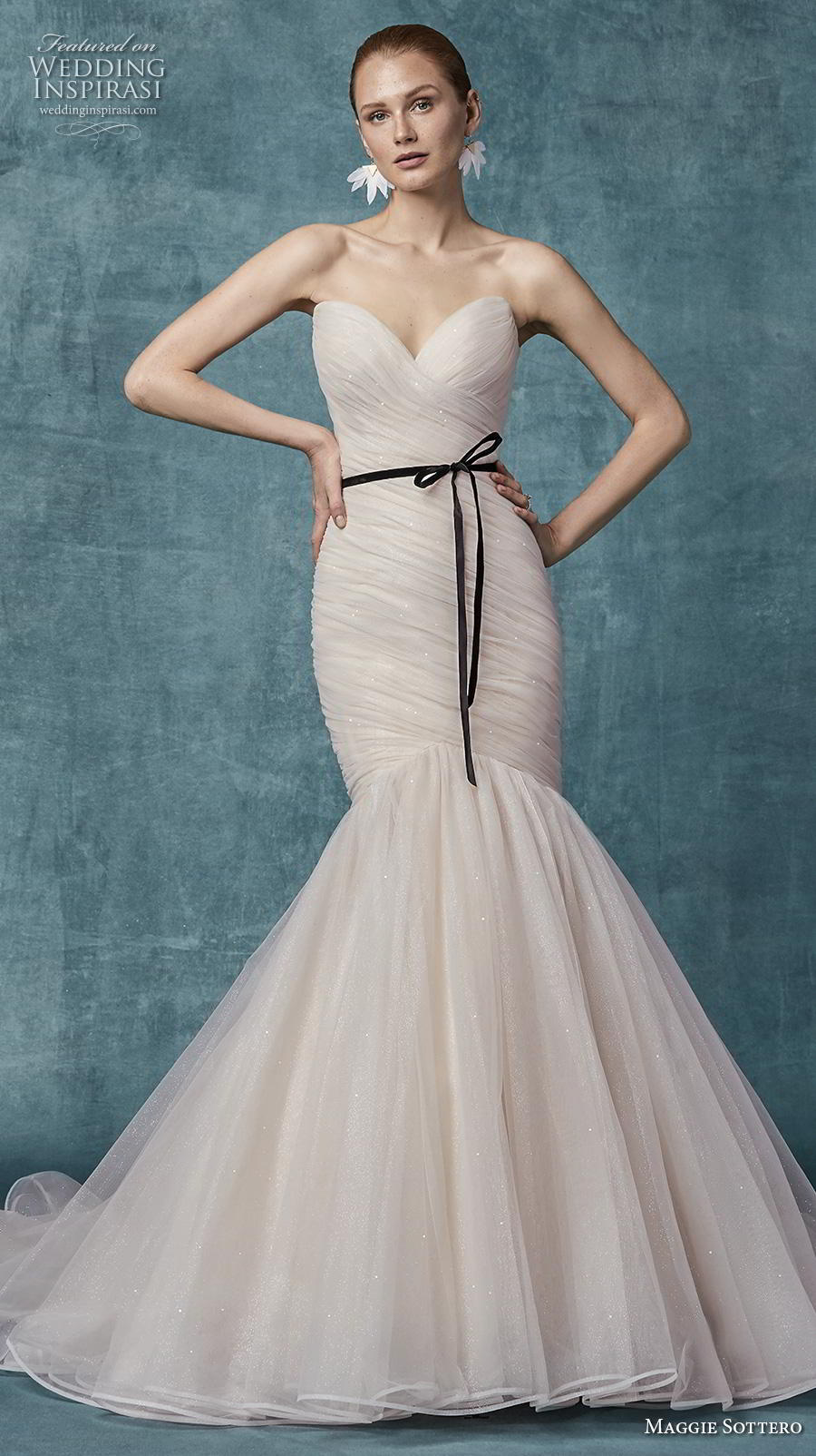 maggie sottero spring 2019 bridal strapless sweetheart neckline wrap over ruched bodice simple blush mermaid wedding dress mid back chapel train (10) mv