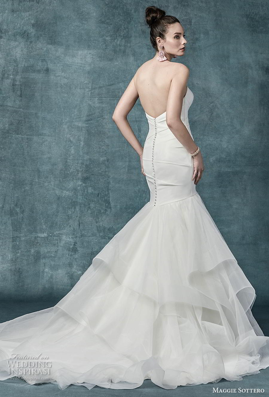 maggie sottero spring 2019 bridal strapless sweetheart neckline wrap over ruched bodice simple elegant mermaid wedding dress mid back chapel train (8) bv