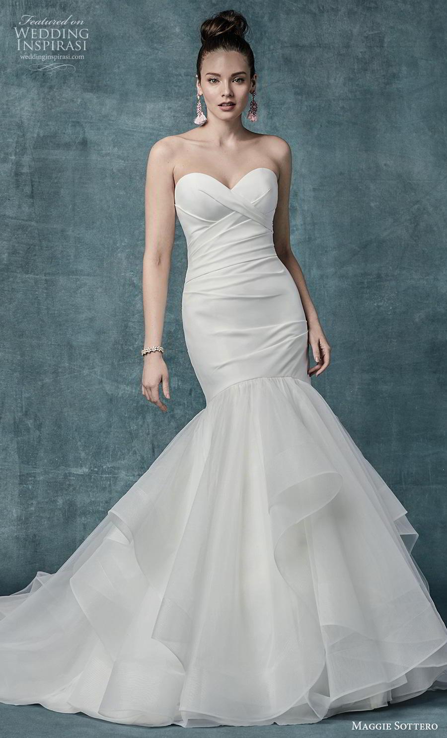 maggie sottero spring 2019 bridal strapless sweetheart neckline wrap over ruched bodice simple elegant mermaid wedding dress mid back chapel train (8) mv